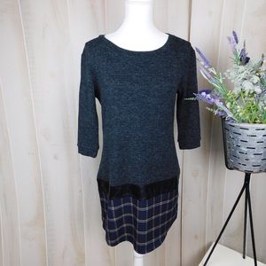 THML Grey & Plaid Tunic Scoop Neck Sweater